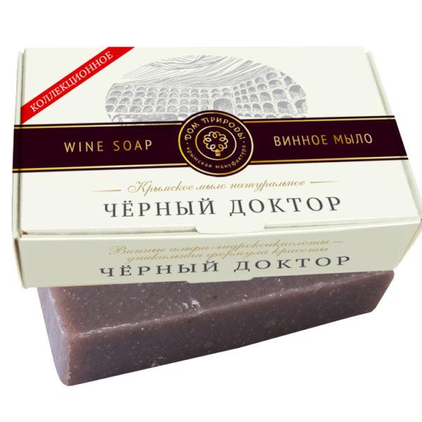 Крымское мыло натуральное ЧЕРНЫЙ ДОКТОР с винными α-гидроксикислотами и янтарной кислотой.